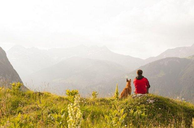 Wanderer mit Hund vor Gipfelpanorama